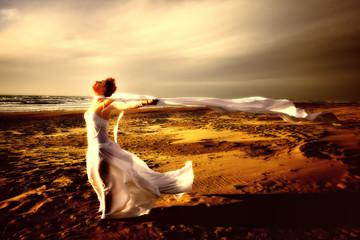 white veil on beach