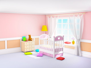 classic baby room pink