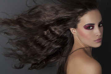 beauty makeup and long flying hair