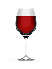 Elegant red wine glass on white background