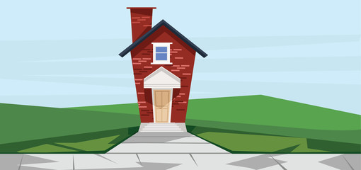 Vector flat cartoon style red two floor house near road.