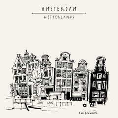 Amsterdam, Holland, Netherlands Europe. View of old center with a boat. Dutch traditional historical buildings. Hand drawing. Travel sketch. Book illustration, postcard or poster
