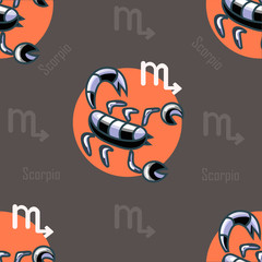 astrological seamless pattern with scorpions