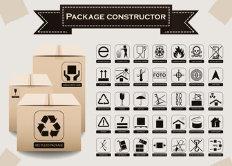 Vector package constructor. Packaging symbols.  Icon set including waste recycling, fragile, flammable, this side up, handle with care, keep dry and others. Vector illustration