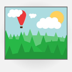 Cartoon style vector photo frame with day nature. Vector illustration