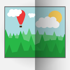 Cartoon style bent vector photo frame with day nature. Vector illustration