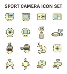 Sport camera and photography equipment vector icon sets.