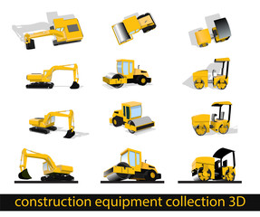 construction equipment collection flat3D excavator