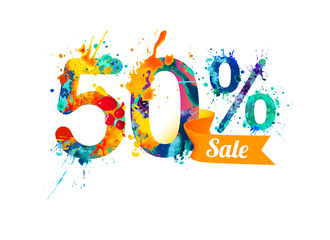 fifty (50) percents sale. Splash paint