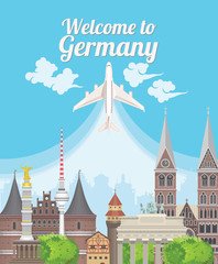 Welcome to Germany. Travel German landmarks. German vector icons. Trip architecture concept. Touristic background with landmarks, castles, monuments, german cuisine, beer, sausage, pretzel.