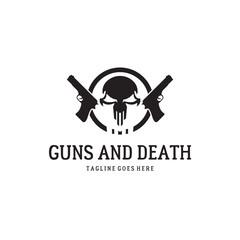 Two guns and skull. Skull logo. Warrior logo.