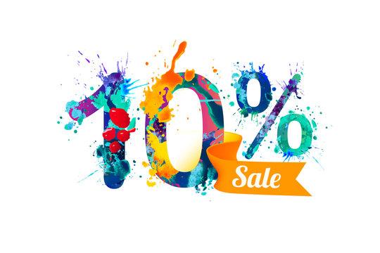 Ten (10) percents sale. Splash paint