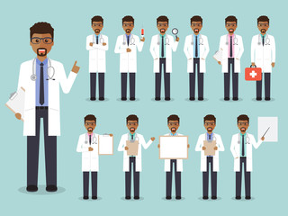 African doctor, medical and hospital staff characters.