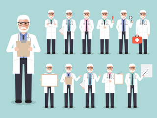Senior doctor, medical and hospital staff characters.