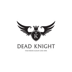 Dead knight logo. Shield with a wings and skull.