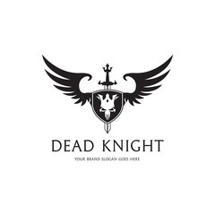 Dead knight logo. Shield with a wings, sword, and skull emblem.