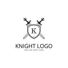 Knight logo. Two crossed sword and shield.
