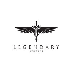 Legendary logo. Angel sword logotype. Sword with a wings.