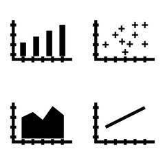 Set Of Statistics Icons On Bar Chart, Line Chart And Plotter Point Chart. Statistics Vector Icons For App, Web, Mobile And Infographics Design.