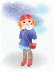 Winter girl with bag  in vintage coat and knitted hat. Fashion g
