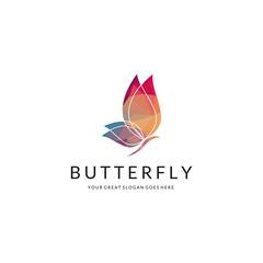 Butterfly logo. Polygonal butterfly.