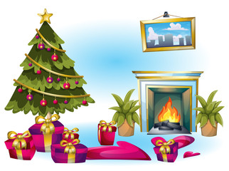 cartoon vector illustration interior christmas object with separated layers