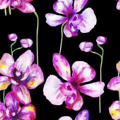beautiful original red blooming orchids. watercolor art. pattern
