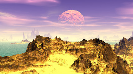 Fantasy alien planet. Mountain and lake. 3D  rendering