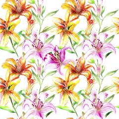 beautiful original red blooming orchids. watercolor art. pattern