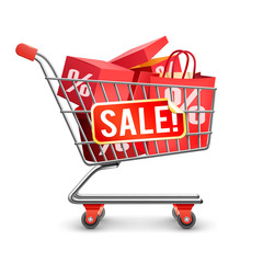 Sale Full Shopping Cart Red Pictogram