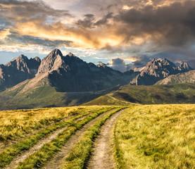 Path through the meadow to Tatra mountains