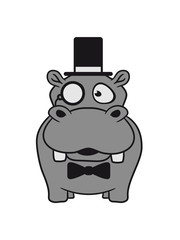 men, mr sir cylindrical glasses monokel hat fly rich nilpferd small thick sweet cute comic cartoon hippo