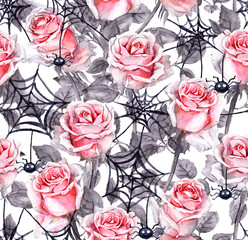 Pink roses, spiders, webs. Halloween repeating background. Watercolor
