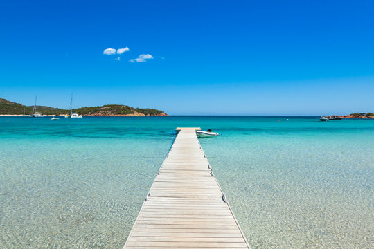 Pontoon  in the turquoise water of  Rondinara beach in Corsica I