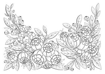 Coloring book page for adult and older children with flowers. Printable. Black and white background. Possible use for printing on fabric.