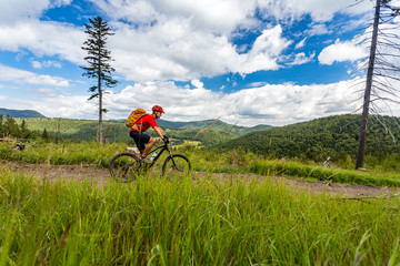 Mountain biker cycling riding in woods and mountains