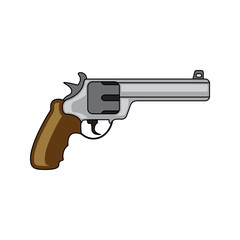 Military revolver. Revolver security caliber. Flat style. Cartoon style. Military symbol for web and mobile.