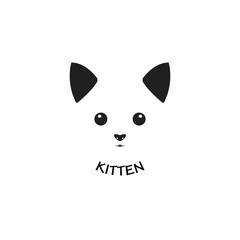 Vector image of an kitten face design on white background, Vector cat head for your design.