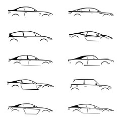 Set of black silhouette car on white background. Vector illustration.