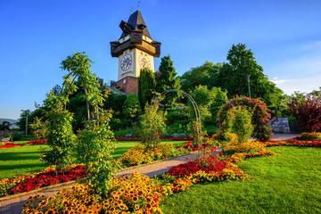 The historical Clock tower Uhrturm in Graz, Austria