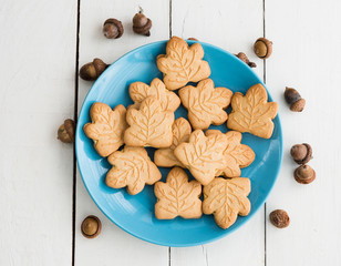 Delicious Canadian maple cream cookies on the blue plate with ac