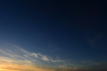Clear sky at sunset boundless blue