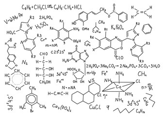Hand drawn chemistry formulas Science knowledge education