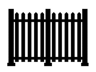 Contour of fence isolated on white background. 3d illustration