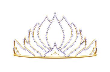 Golden diadem isolated on white background. 3d rendering