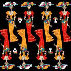 La Calavera Catrina. Elegant Skull. Dia de Muertos. Seamless background pattern.