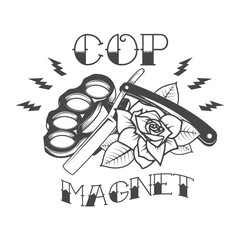 cop magnet. Brass knuckle with old style razor and rose isolated