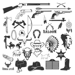 Cowboy and native american indians design elements