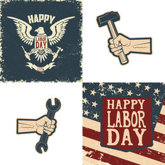 Set of the  Happy Labor Day emblems and design elements