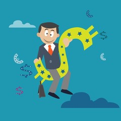 businessman sitting on dollar. abstraction. vector illustration of cartoon